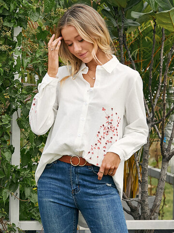 Floral Embroidered Button Casual Blouse