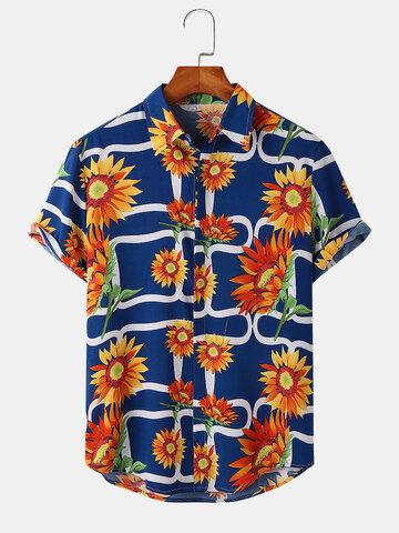 Chemise à ourlet arrondi à imprimé tournesol