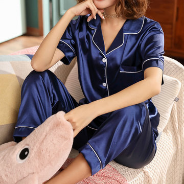 Season Simulation Silk Pajamas Women Short-sleeved Trousers Thin Section Ice Silk Home Service Ladies Sweet Two-piece Suit