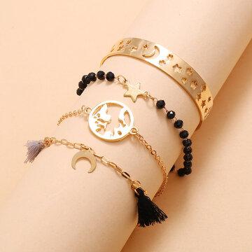 4Pcs Star Moon Bracelet Set