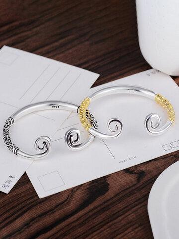 Goldener Knüppel Sterling Silber Affe King Paar Armband