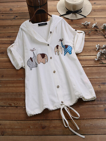 Printed Hooded Button Drawstring Shirt
