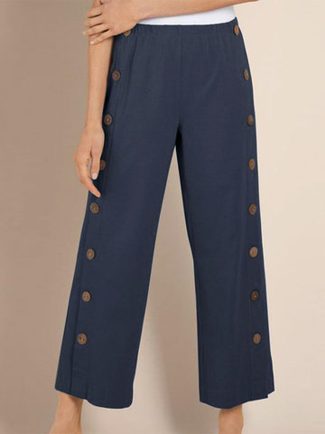 Casual Button Elastic Waist Pants