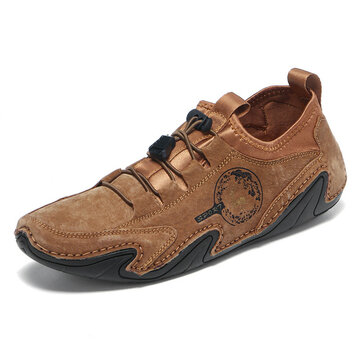 Men Soft Non Slip Casual Driving Leather Shoes