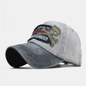Skull Modello Hat Washed Old Letters Baseball Cap