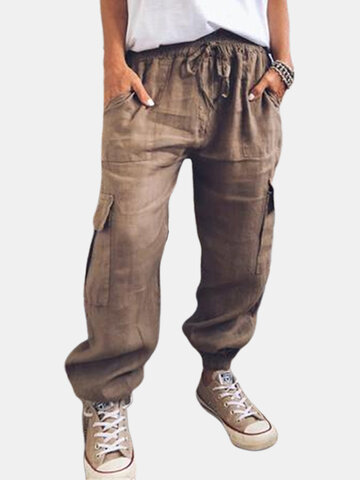 Drawstring Solid Color Pants