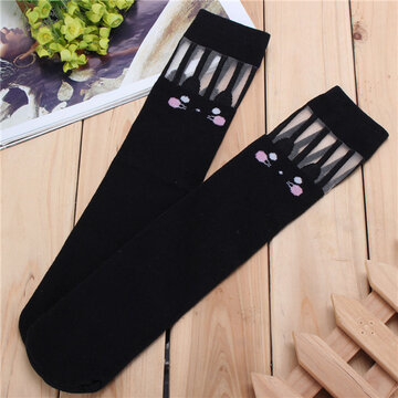 Women Children Girls Solid Breathable Casua Soft Cotton Knee High Socks