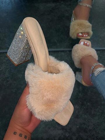 Fashion Furry Square Toe Heels Sandals