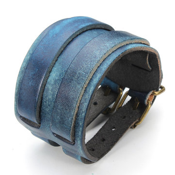 Double Buckle Rectangle Wide Leather Bracelet