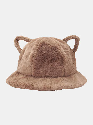 Women Lamb Wool Cartoon Cat Ear Shape Bucket Hat