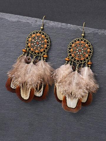 Flower Feather Pendant Earrings