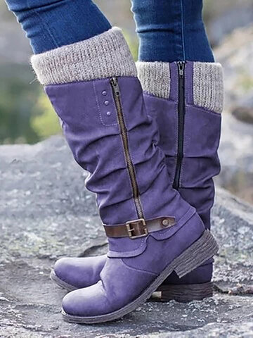 Side Zipper Block Heel Boots