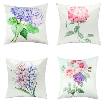 Imitation Silk Pillow Case Green Leaf Flowers Cushion Cover