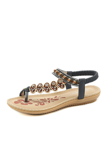 Daily Crystals Beading Clip Toe Sandals