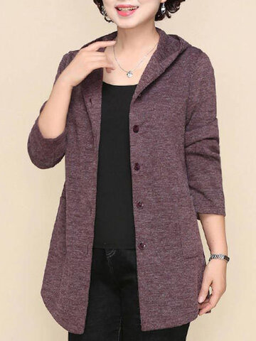 Solid Color Hooded Cotton Button Cardigan