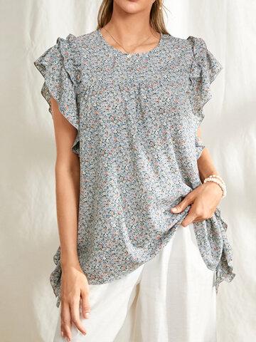 Floral Print Ruffled Sleeve Blouse