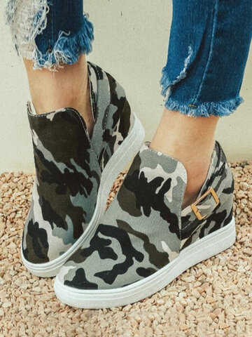 Camouflage Elastic Slip-On Side Cut Boots