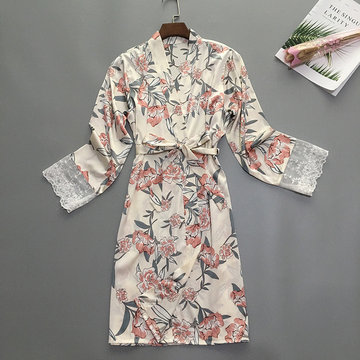 Satin Pajamas Women's Season Ice Silk Flowers Kimono Princess Wind Cardigan Loose Home Service Can Be Worn