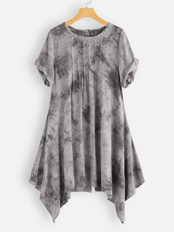 Irregular Pleated Tie-dyed Blouse, Blue grey