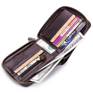 RFID Antimagnetic Vintage Genuine Leather Trifold Wallet