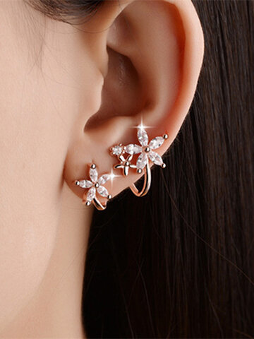 Sweet Zircon Flower Earrings