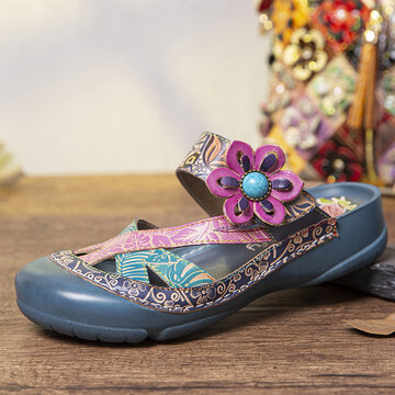 Leather Mules Clogs Sandals