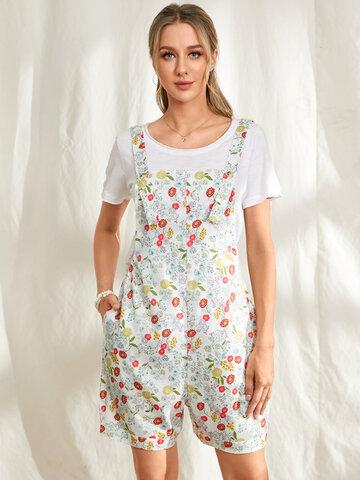 Floral Print Pockets Jumpsuit