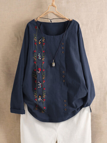 Bohemian Embroidery Long Sleeve Shirt