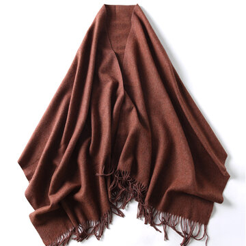 Solid Color Wool Scarf For Women, Black camel