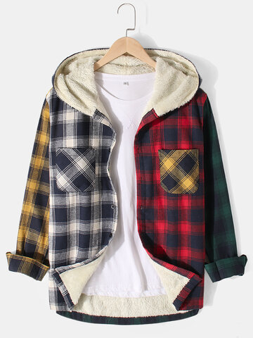 Plaid Patchwork Thicken Hooded Jacket
