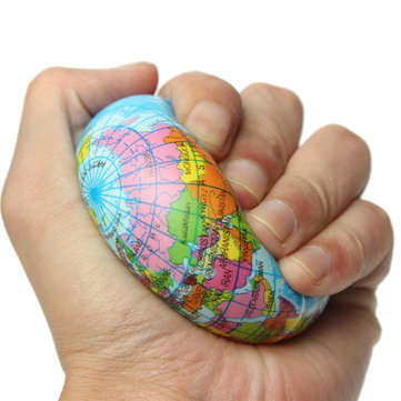 Earth Globe Squishy Toy Planet World Map Foam Stress Relief Bouncy Press Ball Geography