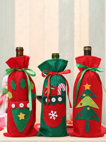 1 Pz Bottiglia di vino di Natale Borsa Cappello di Natale Albero di Natale Regalo di Capodanno Borsa Decorazioni per la cena