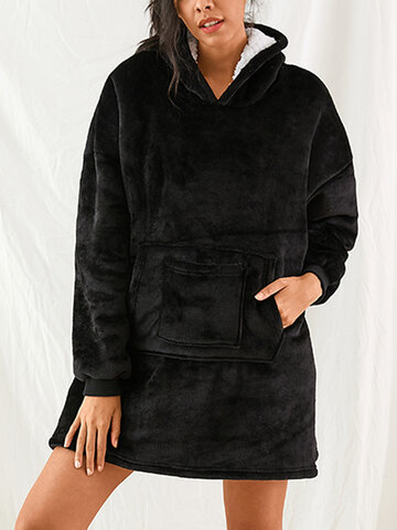 Flannel Sherpa Double Sided Warm Blanket Hoodie