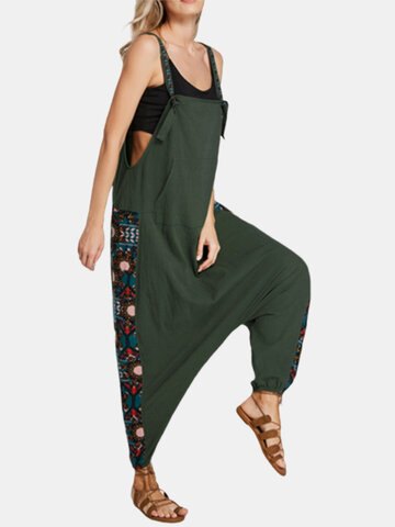 Ethnic Drop Crotch Pockets Jumpsuit