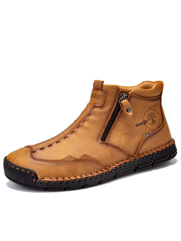 Men Side Zipper Leather Boots
