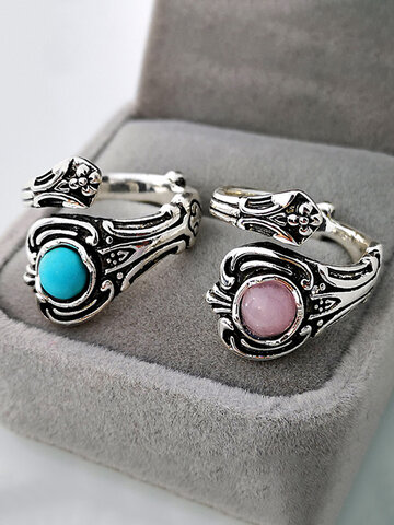 Crystal Turquoise Couple Ring