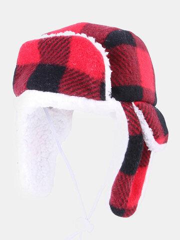 Christmas Pet Sombrero Boina Plus Terciopelo Otoño e Invierno Grande Perro Dorado Cabello Capucha cálida y resistente al viento