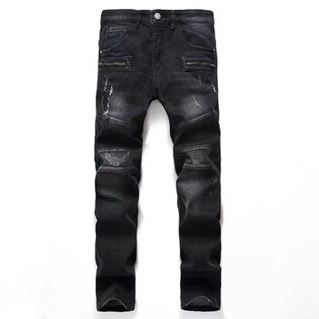 Mens Fold Holes Stitching Casual Jeans фото