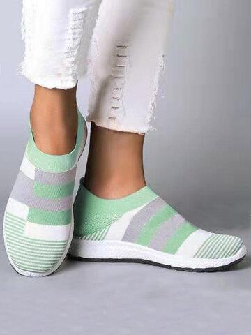 Sneakers piatte elastiche in maglia di giunzione