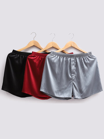 Shorts de cintura elástica tailandesa de seda lisa