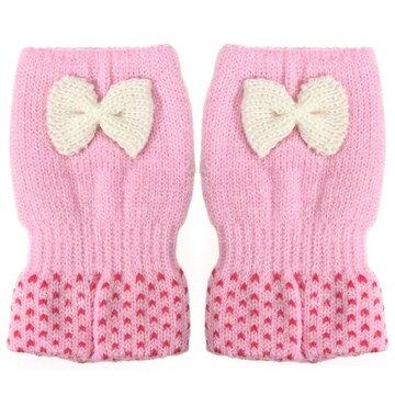Cute Bowknot Crochet Knitted Fingerless Gloves Thermal Hand Wrist Mittens