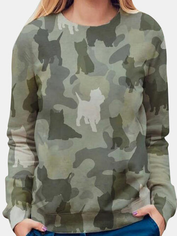 Camouflage Cat Print Casual T-shirt