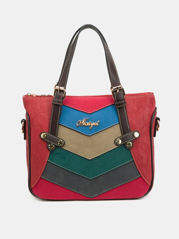 Laides Elegant Color Block Patchwork PU Leather Handbags Totes Shoulder Bags Crossbody Bags