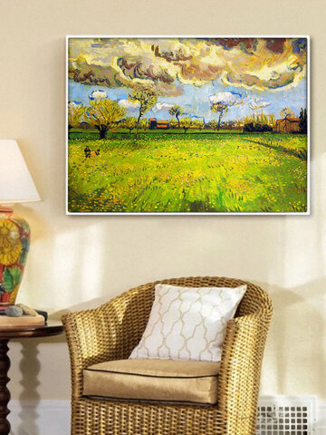 1 PC Vintage Unframed Oil Painting Van Gogh Green Field Pattern Painting Waterproof Cafe Home Decor Wall Pictures