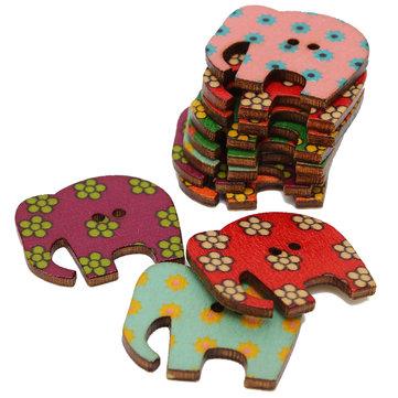 50Pcs coloridos 2 furos elefante animal padrão madeira botões