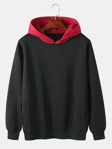 Brief Style  Contrast Color Hoodie