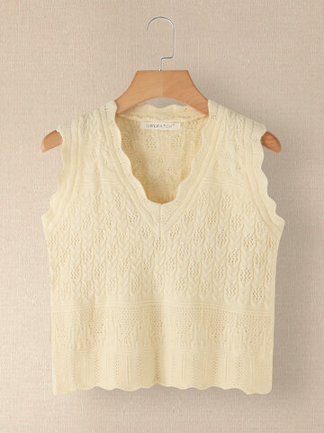 Solid Color V-neck Sleeveless Knit Sweater
