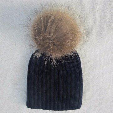 Children Warm Winter Wool Knit Beanie Raccoon Fur Pom Bobble Hat Crochet Ski Cap