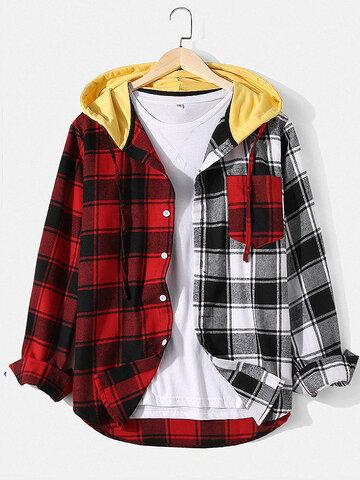 Plaid Patchwork Cotton Hooded Shirt