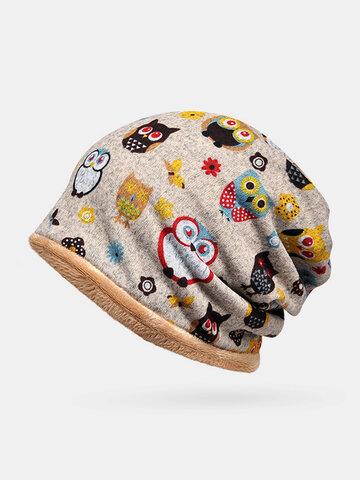 قبعة صغيرة مرنة بنمط حيوانات مخملية للنساء Plus